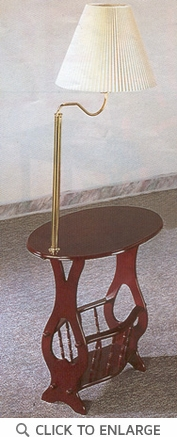 Cherry Finish Brass Lamp Magazine Accent Table by Coaster - 3337