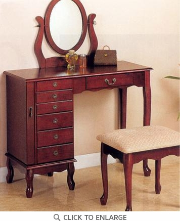 Cherry Finish Make Up Vanity Table and Stool Set by Coaster - 300073