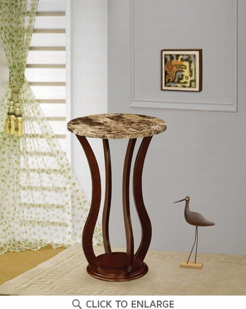 Cherry FInish Plant Stand Accent Table with Faux Marble by Coaster - 900926
