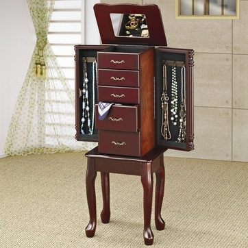Cherry Finish Queen Anne Jewelry Armoire Lingerie Chest by Coaster