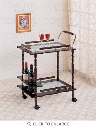 Cherry Serving Cart with Frosted Glass Top by Coaster - 910010
