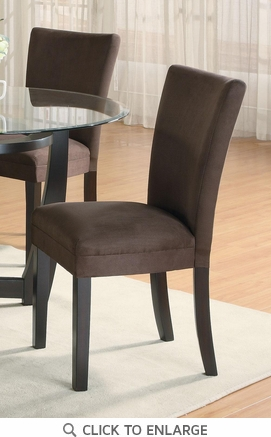 Chocolate Microfiber Parson Dining Chairs (Set of 2)