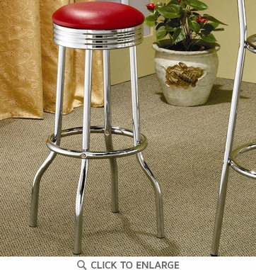 Chrome Red Retro Soda Fountain Bar Stool (Set of 2) by Coaster -  2299R