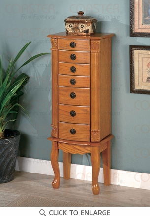 Classic oak finish jewelry armoire lingerie chest by coaster for Lingerie and jewelry chest