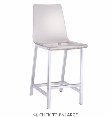 Clear Acrylic Counter Height Chair with Chrome Base by Coaster 100265 - Set of 2