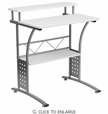 Clifton White Computer Desk [NAN-CLIFTON-WH-GG]
