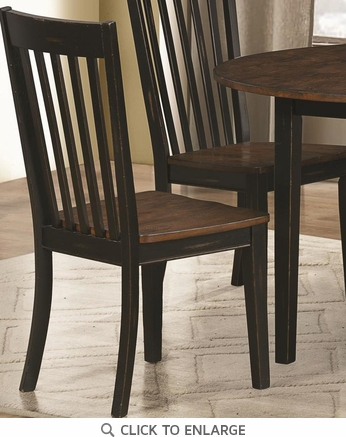 Coaster Kyla Dining Chairs with Slat Back Oak and Black 104352 - Set of 2