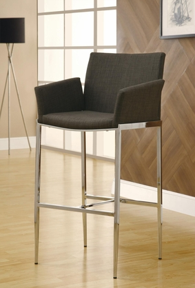 Coffee Brown Linen Fabric Bar Stool with Chrome Leg by Coaster 120726 - Set of 2