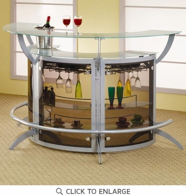 Contemporary 3 Piece Silver Metal Bar Unit with Glass Top 100135 x3