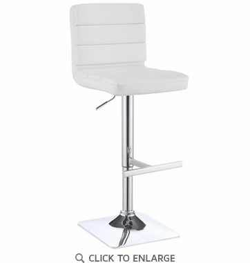 Contemporary Adjustable White Upholstered Bar Stool - Set of 2