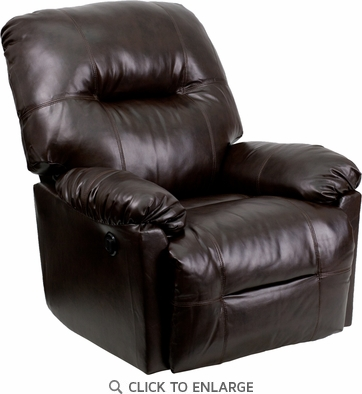 Contemporary Bentley Brown Leather Chaise Power Recliner