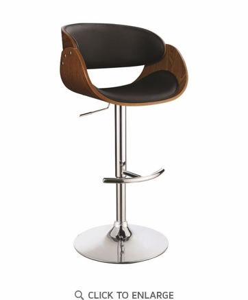 Contemporary Black Adjustable Height Bar Stool by Coaster