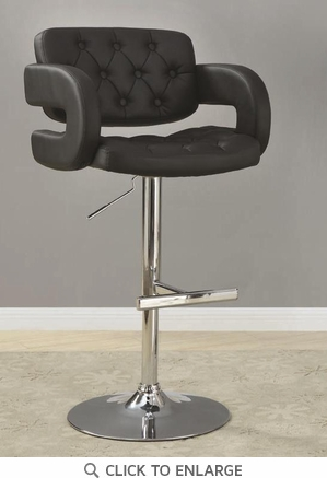 Contemporary Black and Chrome Adjustable Bar Stool Chair by Coaster 102555