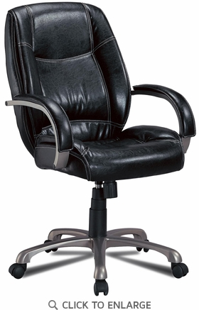 Contemporary Black Faux Leather Office Task Chair by Coaster - 800352