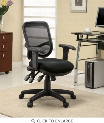 Contemporary Black Mesh Office Task Chair by Coaster - 800019