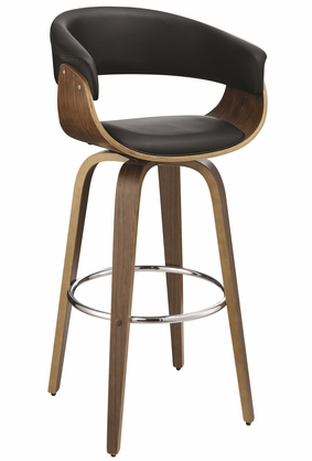 Contemporary Black Upholstered Bar Stool with Walnut Finish