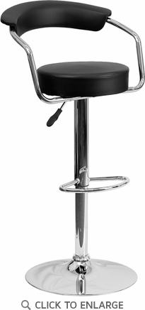 Contemporary Black Vinyl Adjustable Height Barstool with Arms and Chrome Base [CH-TC3-1060-BK-GG]