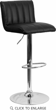 Contemporary Black Vinyl Adjustable Height Barstool with Chrome Base [CH-112010-BK-GG]