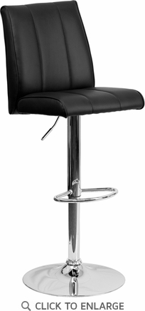 Contemporary Black Vinyl Adjustable Height Barstool with Chrome Base [CH-122090-BK-GG]