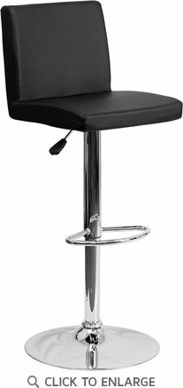 Contemporary Black Vinyl Adjustable Height Barstool with Chrome Base [CH-92066-BK-GG]