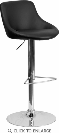 Contemporary Black Vinyl Bucket Seat Adjustable Height Barstool with Chrome Base [CH-82028-MOD-BK-GG]