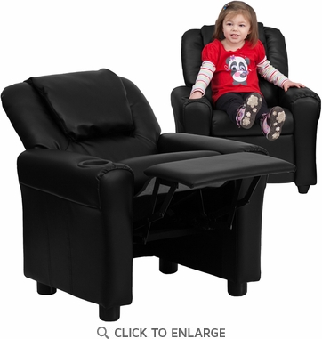 Contemporary Black Vinyl Kids Recliner with Cup Holder and Headrest
