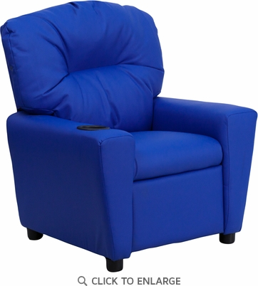 Contemporary Blue Vinyl Kids Recliner with Cup Holder