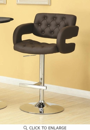 Contemporary Brown and Chrome Adjustable Bar Stool Chair by Coaster 102556