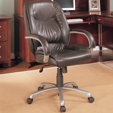Contemporary Brown Faux Leather Office Task Chair by Coaster - 800182