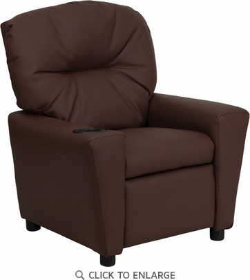 Contemporary Brown Leather Kids Recliner with Cup Holder