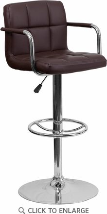 Contemporary Brown Quilted Vinyl Adjustable Height Barstool with Arms and Chrome Base [CH-102029-BRN-GG]
