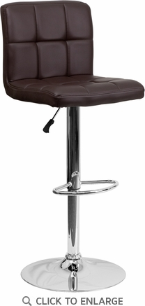 Contemporary Brown Quilted Vinyl Adjustable Height Barstool with Chrome Base [DS-810-MOD-BRN-GG]
