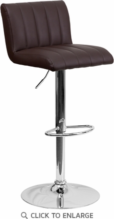 Contemporary Brown Vinyl Adjustable Height Barstool with Chrome Base [CH-112010-BRN-GG]