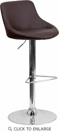 Contemporary Brown Vinyl Bucket Seat Adjustable Height Barstool with Chrome Base [CH-82028-MOD-BRN-GG]