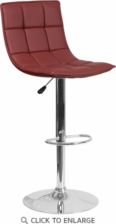 Contemporary Burgundy Quilted Vinyl Adjustable Height Barstool with Chrome Base [CH-92026-1-BURG-GG]