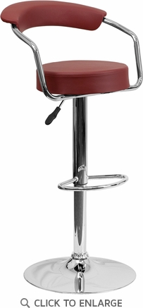 Contemporary Burgundy Vinyl Adjustable Height Barstool with Arms and Chrome Base [CH-TC3-1060-BURG-GG]