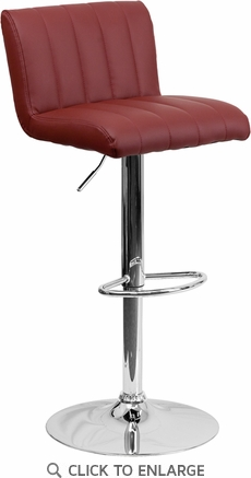 Contemporary Burgundy Vinyl Adjustable Height Barstool with Chrome Base [CH-112010-BURG-GG]