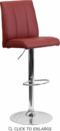 Contemporary Burgundy Vinyl Adjustable Height Barstool with Chrome Base [CH-122090-BURG-GG]