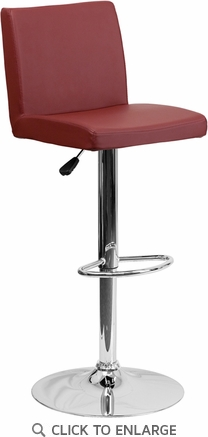 Contemporary Burgundy Vinyl Adjustable Height Barstool with Chrome Base [CH-92066-BURG-GG]