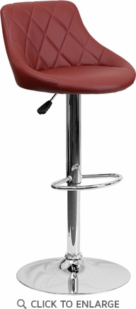 Contemporary Burgundy Vinyl Bucket Seat Adjustable Height Barstool with Chrome Base [CH-82028A-BURG-GG]