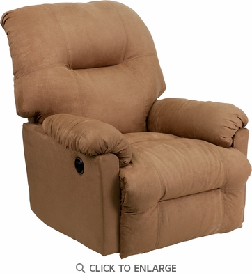Contemporary Calcutta Camel Microfiber Power Chaise Recliner