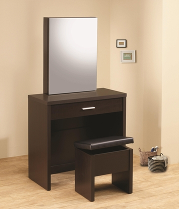 Contemporary Cappuccino Vanity Table and Stool with Storage by Coaster 300289