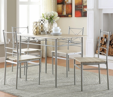 Contemporary Casual Brushed Silver Finish 5 Piece Dining Set  by Coaster 100035