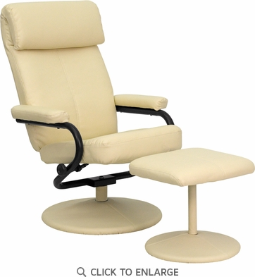 Contemporary Cream Leather Recliner and Ottoman with Leather Wrapped Base