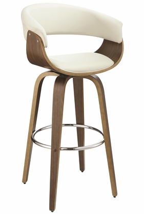 Contemporary Cream Upholstered Bar Stool with Walnut Finish by Coaster 100206