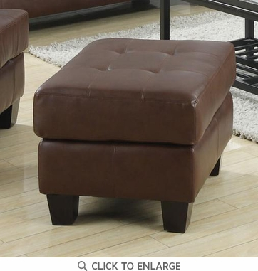 Contemporary Dark Brown Bonded Leather Ottoman Foot Stool by Coaster 504074