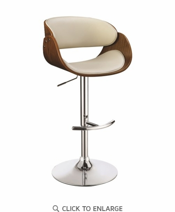 Contemporary Ecru Adjustable Height Bar Stool