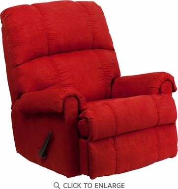 Contemporary Flatsuede Red Rock Microfiber Rocker Recliner