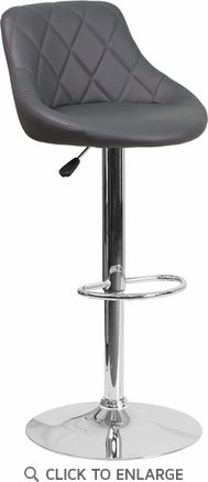 Contemporary Gray Vinyl Bucket Seat Adjustable Height Barstool with Chrome Base [CH-82028A-GY-GG]