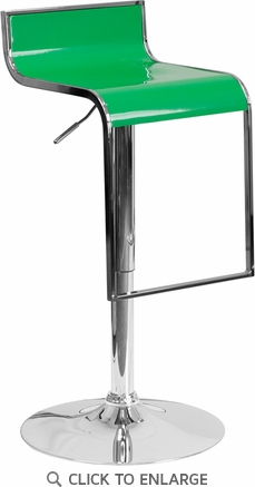 Contemporary Green Plastic Adjustable Height Barstool with Chrome Drop Frame [CH-TC3-1027P-GRN-GG]